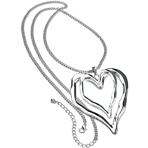 Unique Gifts On The Web Ladies Shiny Silver Colour 90 cm Long Curb Chain Extra Large Double Heart Pendant Lagenlook Necklace