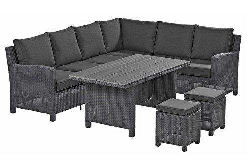 Kettler Lounge-groep Palma Casual Dining-set van hoogwaardig polyrotan, grijs, ca. 210 x 260 x 85 cm, incl. kussens, hoekbank, 2 krukken, eettafel met infinitree-plaat, natuurhouten look, weerbestendig
