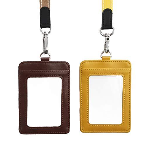 2 ID ID Soporte con llavero ID tarjeta vertical de doble cara piel PU ID tarjetero