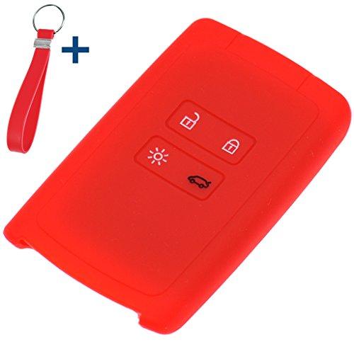 Soft Case Schutz Hülle Auto Schlüssel + Schlüsselband Rot für Renault Megane Kadjar Clio Captur