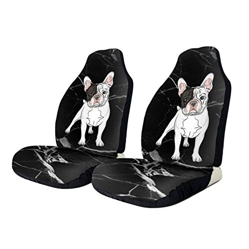 Aohiko French Bulldog Puppy Car Seat Covers, Vehicle Seat Protector Car Mat Covers, Universal Fit for Most Vehicle Cars Truck SUV Van, 2 PCS