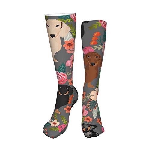 Doxie - Calcetín de botas, diseño floral mixto, para hombre, mujer, 50 cm, para correr, deportes, al aire libre