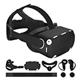 MASiKEN Accessories 6-in-1 for Oculus Quest 2, Head Strap Replacement Kits, VR Front Cap,Controller Cover,Face Pad, Reduce Face Pressure Comfortable Touch, Family Holiday Bundle (Cool Black Set)