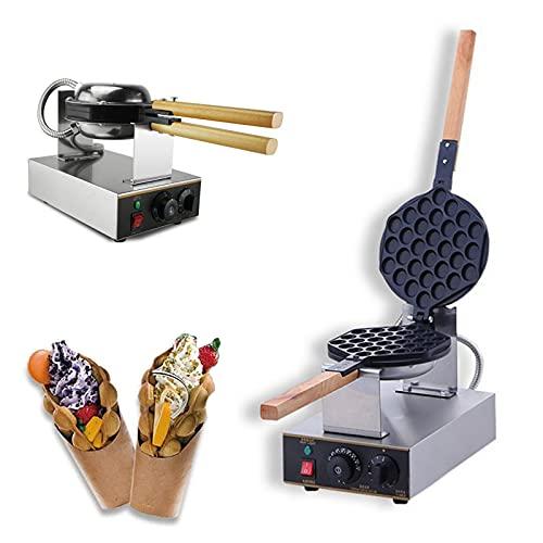 Waffle Irons Belga antiaderente, máquina de waffle com bolhas rotativa a 180° temperatura ajustável estilo Hong Kong para lanchonete, cafeteria ou casa
