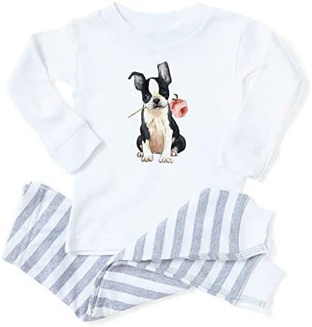 CafePress Boston Terrier Rose Toddler Long Sleeve Pajama Set product image