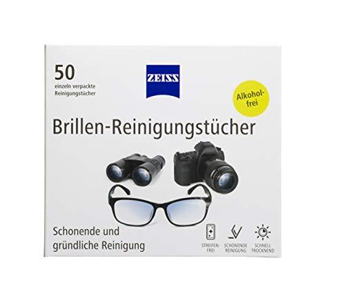 ZEISS Brillen-Reinigungstücher 50 Stück zur schonenden & gründlichen Reinigung Ihrer Brillengläser - jedes Tuch einzeln verpackt - ideal für unterwegs oder auf Reisen