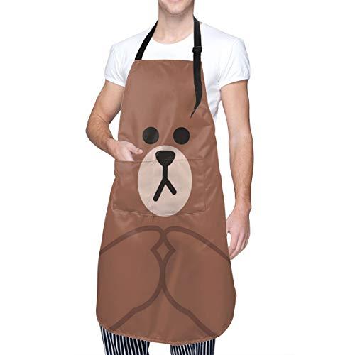 Baca-Uncle Waterproof Kitchen Apron, Adjustable Chef Cooking Bib, Cute Bear Neck Waist Tie Front Kangaroo Pocket