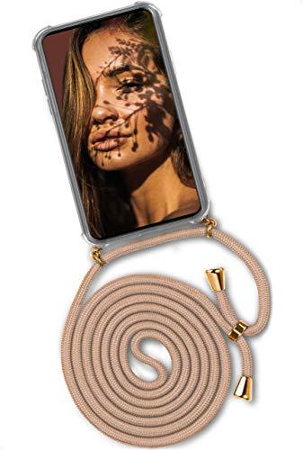 ONEFLOW Handykette 'Twist Hülle' Kompatibel mit Huawei P30 Lite/P30 Lite New - Hülle mit Band abnehmbar Smartphone Necklace, Silikon Handyhülle zum Umhängen Kette wechselbar - Gold Beige