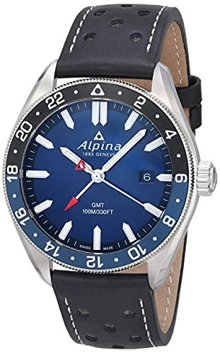 Alpina Men's Stainless Steel Swiss Quartz Sport Watch with Leather Strap, Black, 21 (Model: AL-247NB4E6)