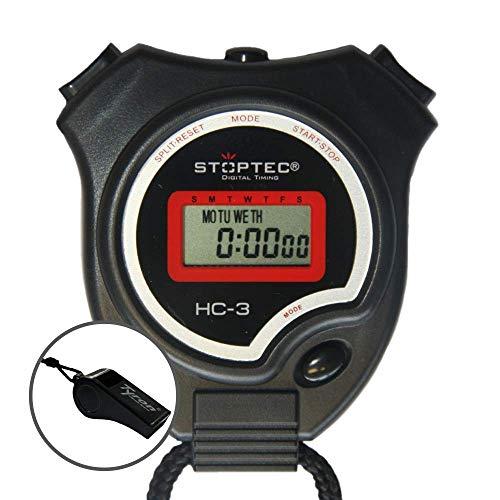Schütt Stoppuhr Stoptec HC-3 mit Trillerpfeife - Digitale Stoppuhr | Hobby | Sport | Freizeit | spritzwasserfest | für Kinder geeignet