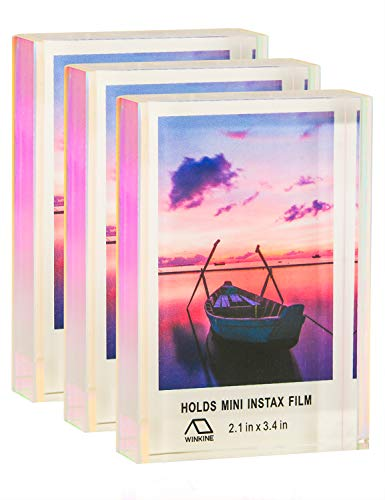 WINKINE Instax Mini Frames 2x3, Rainbow Self Standing Floating Polaroid Picture Frames for Home & Office Decor, 3 Pack Desktop Sliding Mini Photo Frames for Fujifilm & Polaroid Film