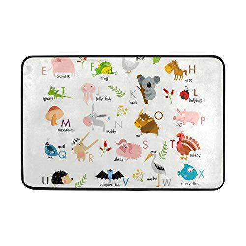 Felpudo de baño antideslizante, alfabeto inglés con animales, alfombra para interior y exterior, 60 x 40 cm, superabsorbente