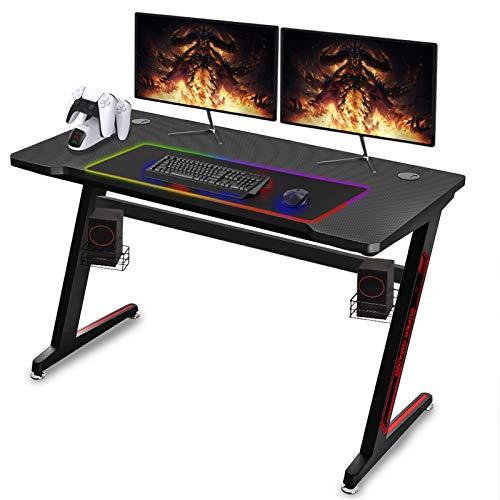 Soontrans Gaming Tisch Groß Gaming Schreibtisch Gamer Tisch, Kohlefaser Oberfläche, Z-Form Edelstahl Fuß,...
