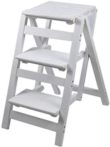 DY kruk van massief hout – inklapbare kruk – boekenkast opvouwbaar – kruk – multifunctionele kruk van hout voor de keuken, op kantoor met ladder