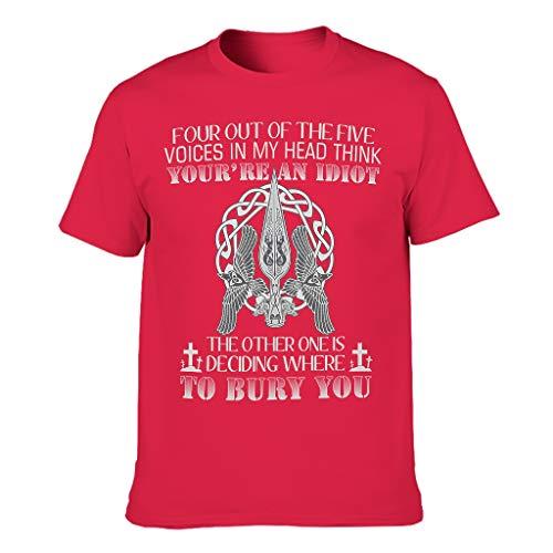 Four Out of The Five Voices In My Head Think Viking 3D Druckten Männer T-ShirtsBaumwolle Tee Sommer Neuheit Logo Shirts Grafik DruckenT-Stücke red1 3XL