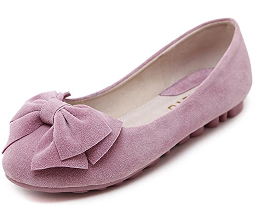 Minetom Mujer Primavera Otoño Dulce Estudiante Mocasines Punta Redonda Bowknot Bailarinas Zapatos Mocasín