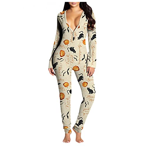 UOCUFY Halloween Pajamas for Women Onesie Flap Butt Flap Deep V Jumpsuit Bodycon Long Sleeve Sleepwear Sexy Womens Pajamas Yellow