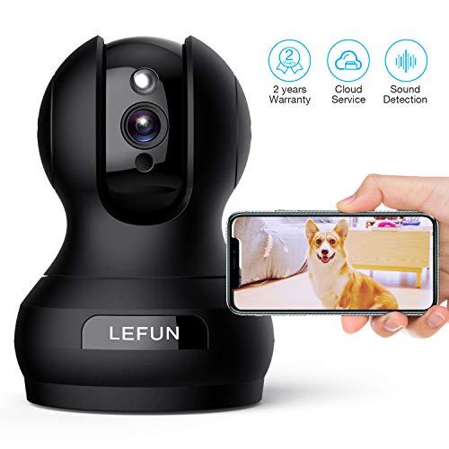 Überwachungskamera Innen Wlan IP Kamera, Lefun 1080P Überwachungskamera unterstützt Alexa Bewegungserkennung Spracherkennung Zwei-Wege-Audio Wlan IP Kamera Nachtsicht für Baby/Haustier/Zuhause Monitor