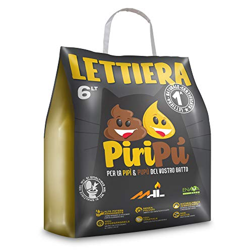 Piripù - Lettiera in Pellet per Gatti - Naturale, Biodegradabile, Assorbente, Vegetale e Certificata - Sacco Carta 6 Litri