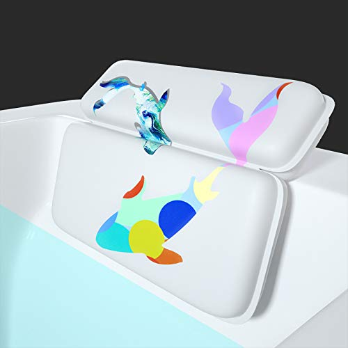 Yimobra Spa Bath Pillow, Luxury 2 Panel Design Bathtub Pillows for Shoulder, Neck Support, 14.5 x 11 Inches, with 7 Suction Cups Headrest, Two Whales