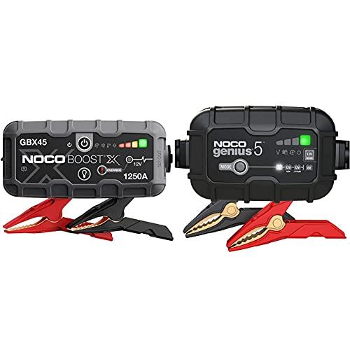 Noco Boost X Gbx45, 1250A 12V Ultrasafe Arrancador De Litio + Genius5Eu, 5A Cargador De Batería Automático Inteligente Portátil De 6V Y 12V, Mantenedor De Batería Y Desulfador para Moto