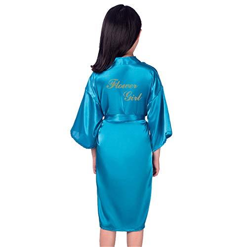 GODGETS Flower Girls Raso Kimono túnicas Boda Dama de Honor Batas Albornoz para niños Ropa de Dormir camisón Azul 12