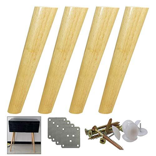 Yuany 4 stuks massief houten meubelpoten, kantelbare, Sich toelopende tafelpoten, reservepoten voor houten sofapoten, draagvermogen tot 400 kg, 10-70 cm optioneel, 15 cm