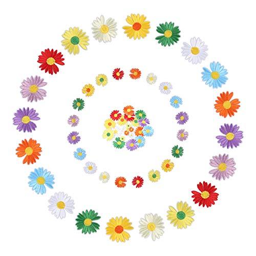 Viesap Patches Zum Aufbügeln, 40 Stück Mini Niedlich Patches Sticker Blumen Aufnäher Applikation Flicken Für DIY T-Shirt Jeans Kleidung Rucksäcke Selbstklebend Gestickte, Applikationen Zum Aufnähen.