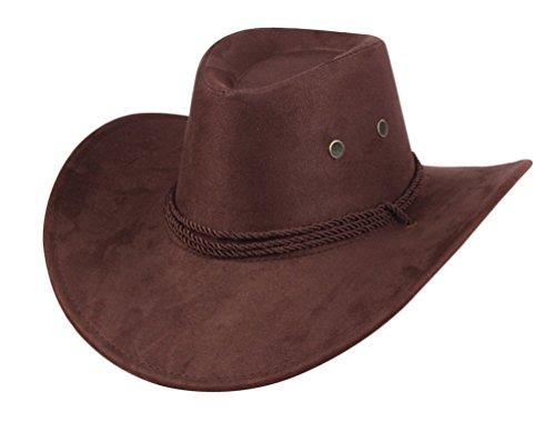 UwantC Mens Faux Felt Western Cowboy Hat Fedora Outdoor Wide Brim Hat with Strap Coffee
