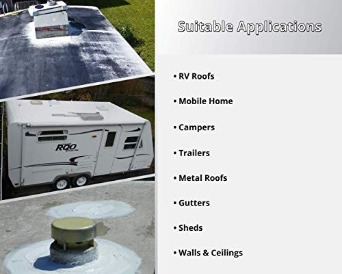 Liquid Rubber RV Roof Coating - Solar Reflective Sealant - Waterproof - Easy to Apply - Brilliant White,1 Gallon
