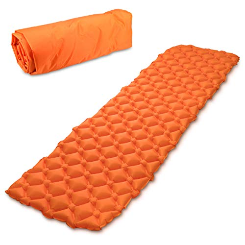 Navaris Materassino Campeggio Gonfiabile Singolo - Materasso Ultraleggero Isolante - Lettino per Tenda Camping Escursioni con Custodia - Arancione
