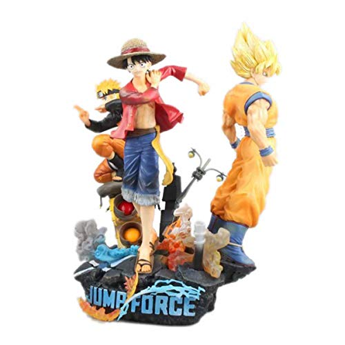 Dragon Ball Goku/Uzumaki Naruto/Monkey D. Luffy Jump Force Statue Model Gift Decoration Desktop Decoration PVC Material Figurine Toy Height 26cm Goku + Naruto + Luffy-H26cm