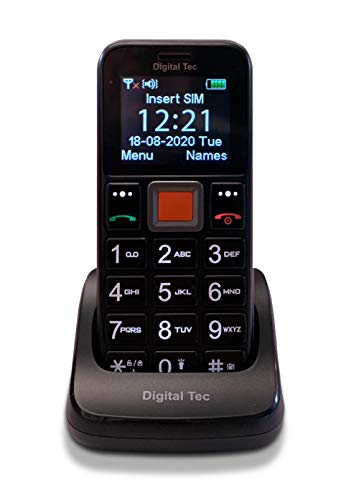 Digital Tec Big button mobile phone for the elderly, Unlocked, SOS Emergency Button, Talking button, Torch and Charging dock. Unlocked Senior Mobile