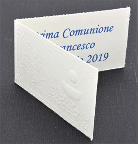 LE GEMME DI VENEZIA 100 tarjetas para bombonera de primera comunión con cáliz en relieve, impresión personalizada a colores de regalo (100 unidades)