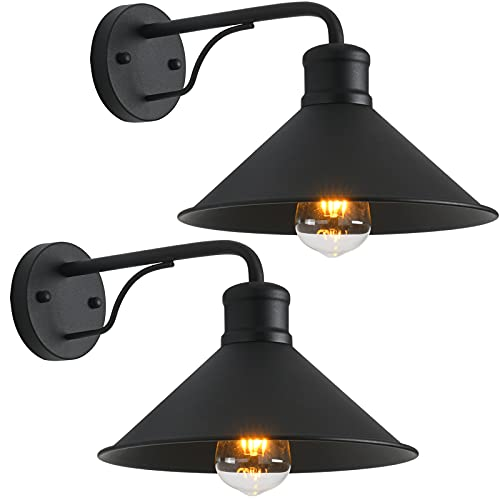 2 Pack Outdoor Wall Lights Wall Mount for House, Front Porch Outdoor Wall Light Fixtures Wall Mount, Matte Black Modern Farmhouse Outdoor Wall Sconce, Classic Barn Lights Outdoor & Indoor-E26 Socket…