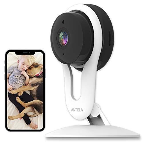 ANTELA Cámara de Vigilancia WiFi 1080p, cámara wifi interna compatible con Alexa, cámara IP para niños con sensor de detección de movimiento, audio bidireccional, Vision nocturna