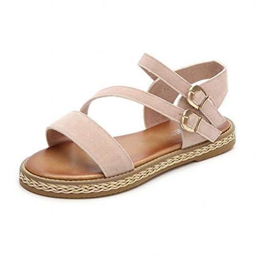 Women Sandals Wild Sandales Confort à Bride sur la Semelle Plate-Forme à Muffins, Chaussures Fantaisie pour Femmes Romaines, Apricot, 39