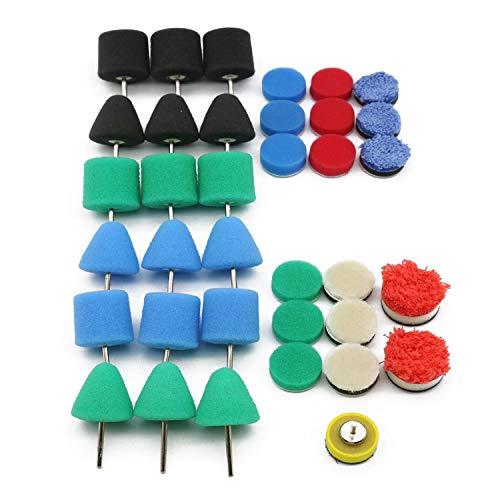 Kshzmoto Mini Almohadilla de Pulido Taladro de Detalles de Coche Almohadillas de Pulido Esponja Eje Flexible Kit de Ruedas de Pulido Juego de máquina pulidora automática