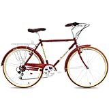 QIU Single Speed ​​700C 24 / 26Inch Commuter City Road Bike |21 Pulgadas Marco Urbano Engranaje Fijo Bicicleta Retro Vintage Adulto Damas Hombres Unisex (Color : Red, Size : 24')