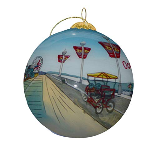 Hand Painted Glass Christmas Ornament - Beach Boardwalk Ocean City, NJ