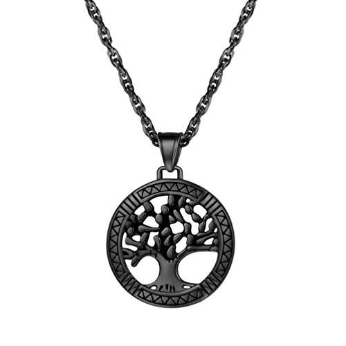 PROSTEEL Mens Tree of Life Pendant Necklace Stainless Steel Chain Bestfriend Gift (Black)
