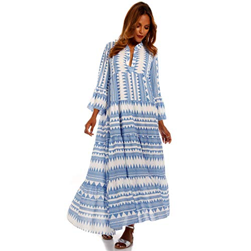 YC Fashion & Style Damen Boho Maxikleid Strandkleid Bodenlang Freizeit Sommer Party Kleid Hippie Kleid Plus Size Made in Italy (One Size, Hellblau/Retro)