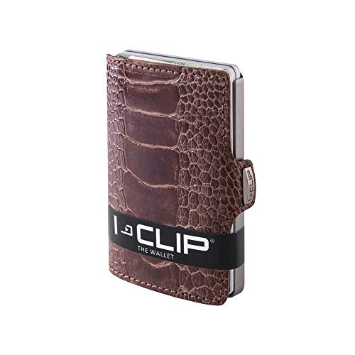 I-CLIP ® Geldbörse Strauß Leder (Fuß) - Braun (In 4 Varianten erhältlich)