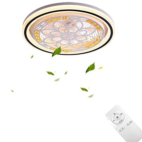 VOMI LED Silencioso Ventilador de Techo con Luz Momento Cristal Ventilador Lámpara...