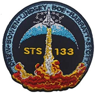 STS 133 NASA Space Military Patch Fabric Embroidered Badges Patch Tactical Stickers for Clothes with Hook & Loop (color3)