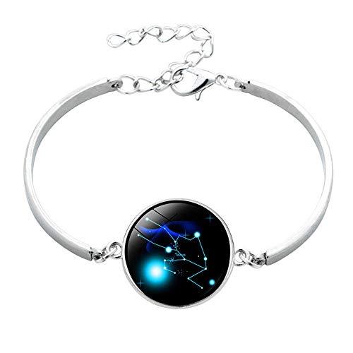 12 Doce Constelaciones Pulsera de piedras preciosas Pulsera de cristal simple de plata Pulsera-Tauro_Tauro