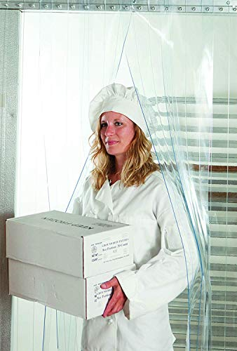 스트립 커튼 도어 키트 - 36 X 80 - 냉동고 상업 주방 단위 쿨러 룸 창고 출입구에서 도보를위한 클리어 PVC 비닐 스트립 세트 강철 유니버설 마운트 하드웨어 포함