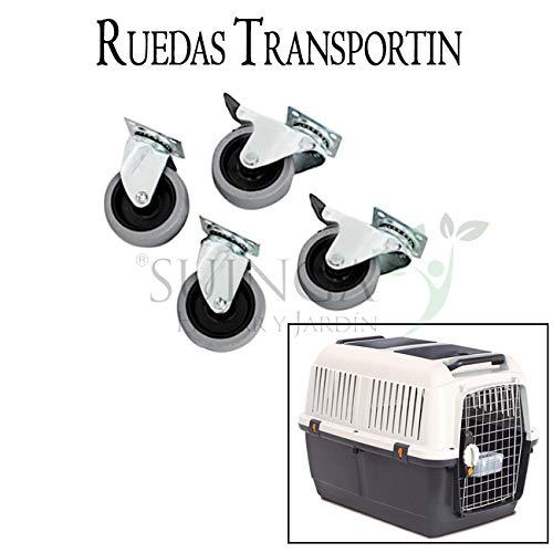 KIT 4 RUEDAS para TRANSPORTIN DE ANIMALES PERROS. Kit compuesto por 4 ruedas de alta calidad fabricadas en Aluminio.