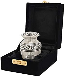 Grace and Mercy Pewter Cross Small Mini Keepsake Urn for Human Ashes - Qnty 1 - Find Peace and Comfort Every Time You Look at This Beautiful Urn - with Velvet Case