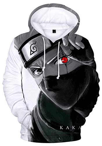 AMOMA Herren Jungen Anime Naruto 3D Digitaldruck Freizeit Pullover Kakashi Sasuke Printed Hoodie Kapuzenpullover(XL,KakashiWhite)